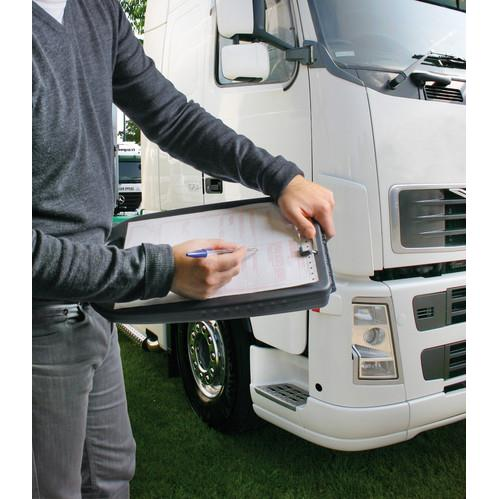 Truck lorry HGV driver black clipboard storage A4 shatterproof plastic & handle - Shop4trucker