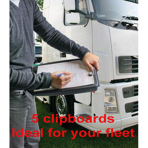 Truck lorry HGV driver 5 x black clipboard storage A4 shatterproof plastic & handle - Shop4trucker