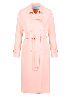 Trench coat in light pressed wool