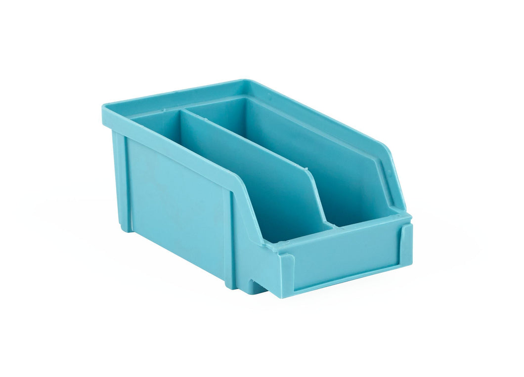 PB10-X | 4X4X2 PlastiBox Container with Molded-In Divider | Pack of 24