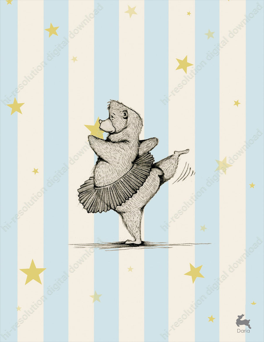 Dancing Bear (Blue) - Digital Download