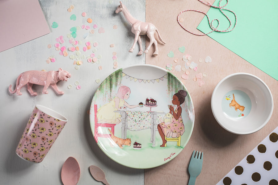 Illustrated Dinner Set - Penny and Eliza Having Tea