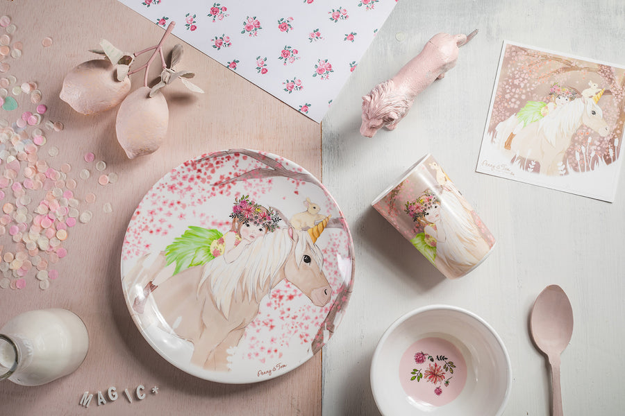 Illustrated Dinner Set - Penny Riding a Unicorn