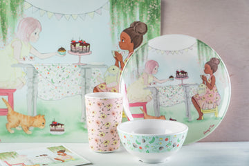Illustrated Dinner Set - Penny and Eliza at a tea party, melamine dinnerware, melamine plate, tableware for kids