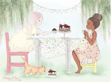 Placemat with the design of Penny and Eliza in a tea party.