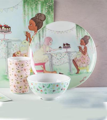 Illustrated Plate - Penny and Eliza in a tea party