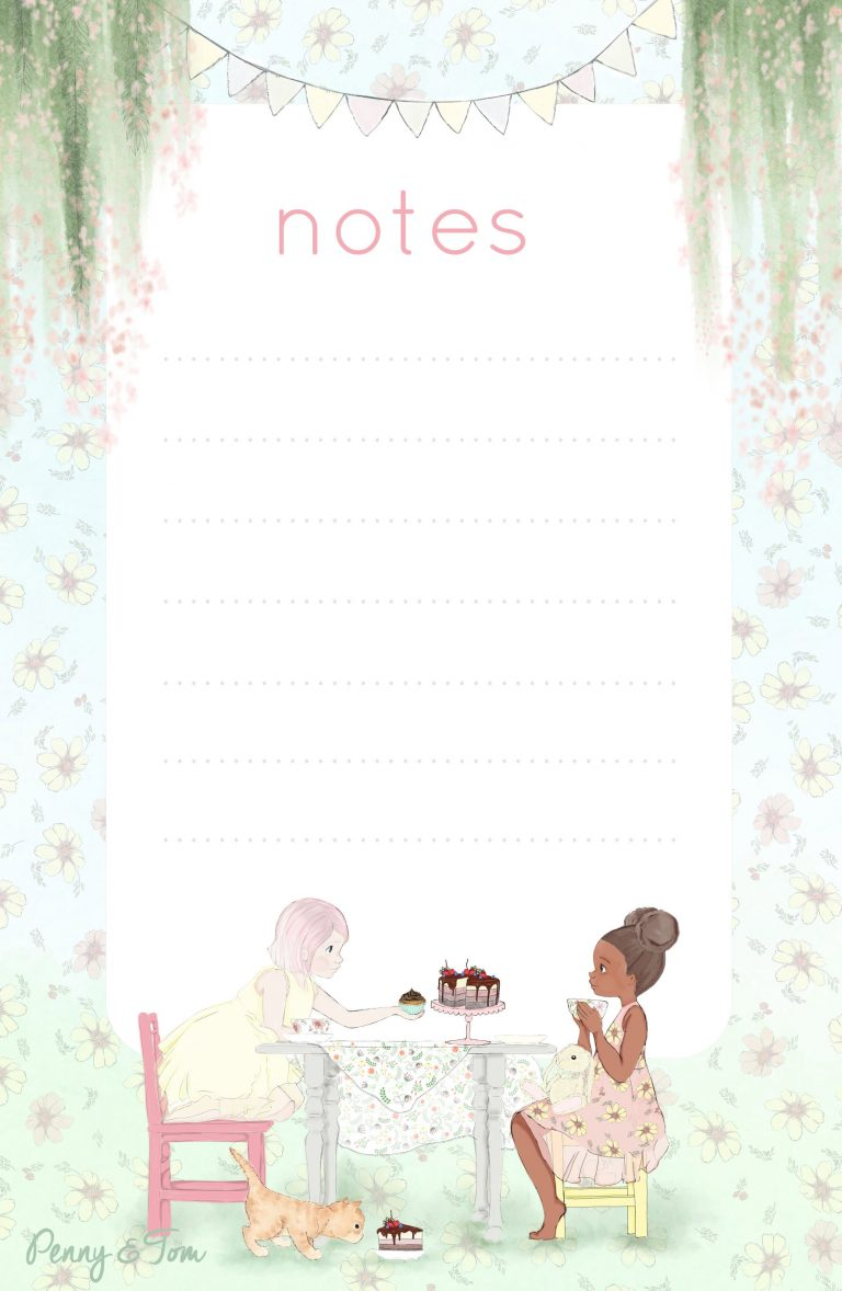 Large Memo Pad - Penny and Eliza in a tea party