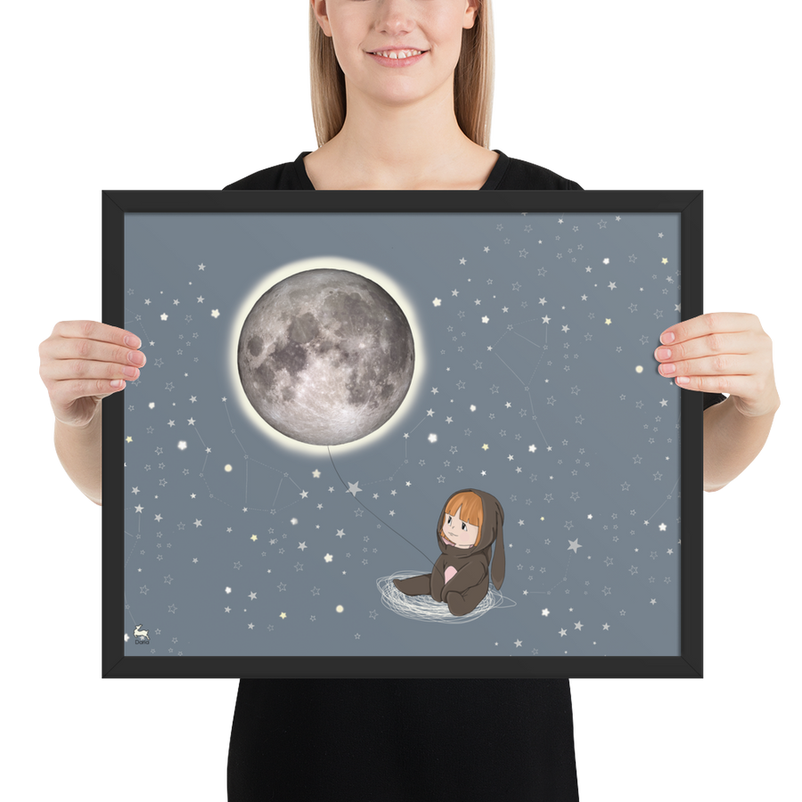 Baby Penny Capturing the Moon - Framed Poster