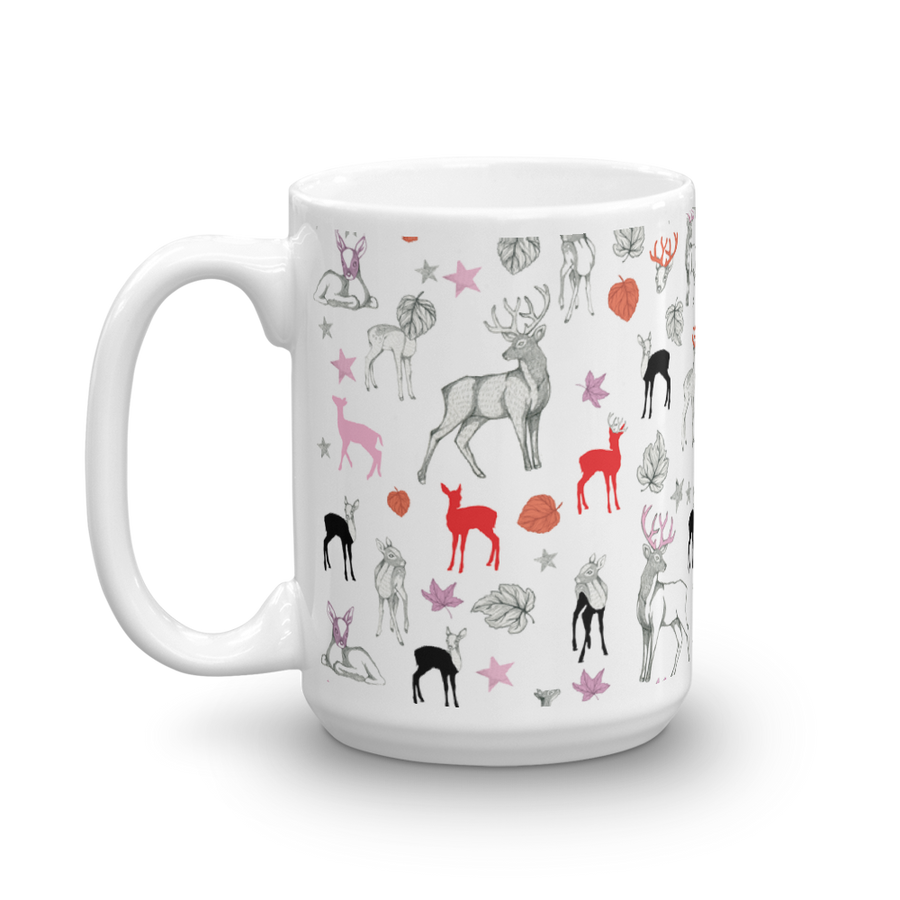 Ceramic Mug - Forest Animals (Red)