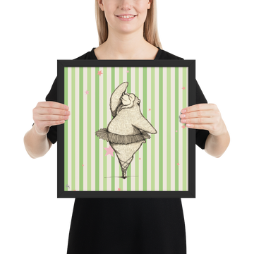 Dancing Bear (Green) - Framed Poster