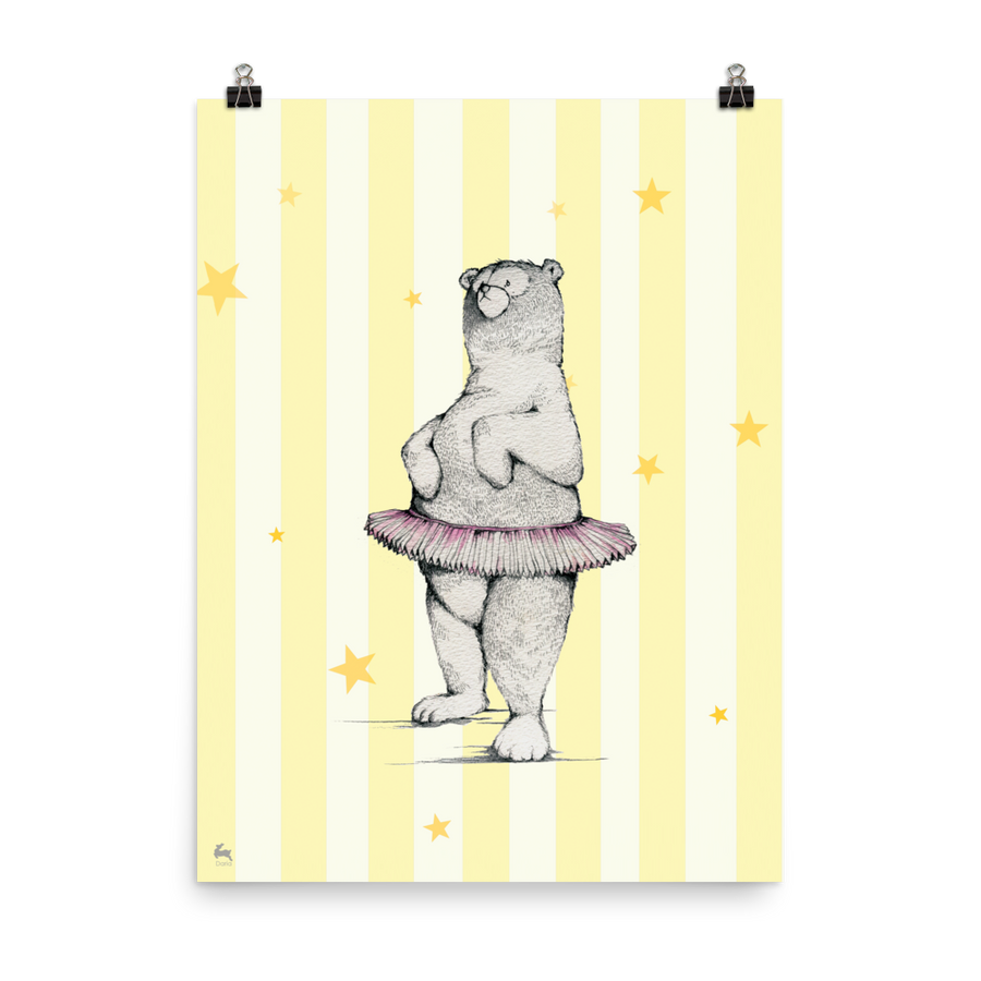 Dancing Bear (Yellow) - Matte Poster