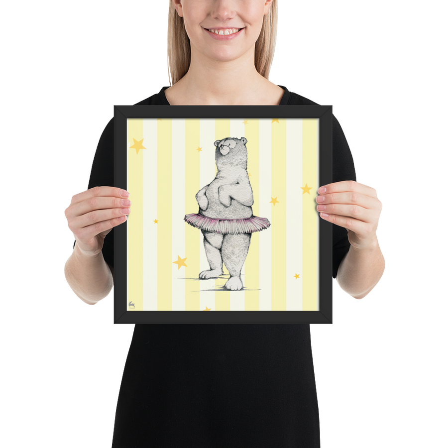 Dancing Bear (Yellow) - Framed poster