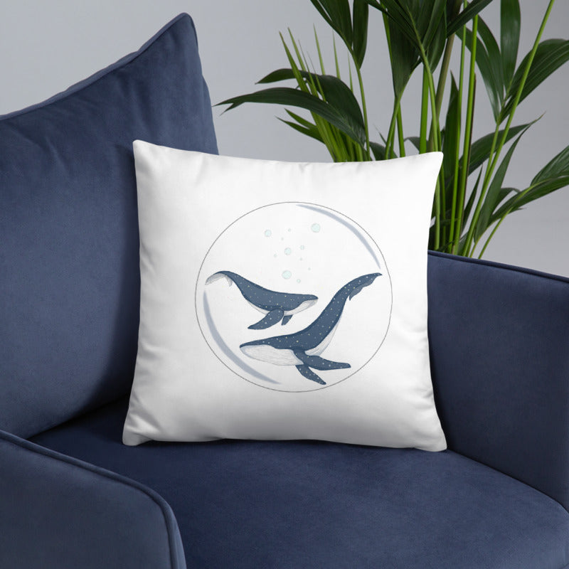 Throw Pillow - Blue Whales