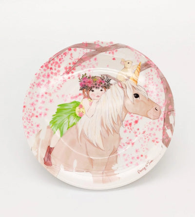 Illustrated Plate - Penny riding a unicorn
