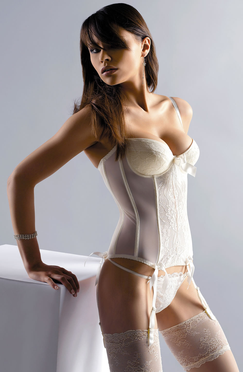Cream Basque with Embroidery Detail
