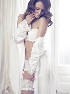 Long Bridal Robe with Italian Lace Trim