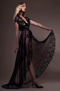 Mesh and Silk Negligee
