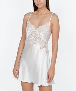 Italian Lace Trimmed Satin Nightdress in Ivory