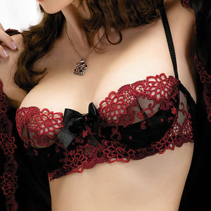 Soft Cup Black and Red Lace Bra