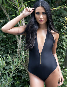 Plunge Swimsuit with Gold Metal Zip Detail