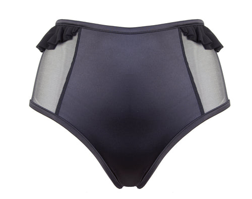 High-Waisted Open Back Briefs in Black