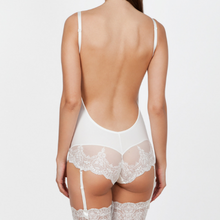 Load image into Gallery viewer, Low Back Body in Ivory White with Lace Trim
