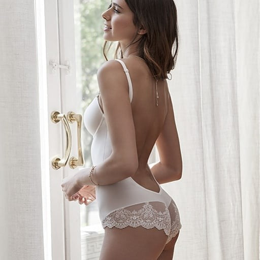 Low Back Body in Ivory White with Lace Trim