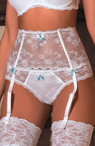 Fi Lace Suspender Belt in White