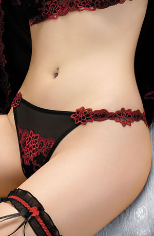 Rouge Embellished Thong  (T41)