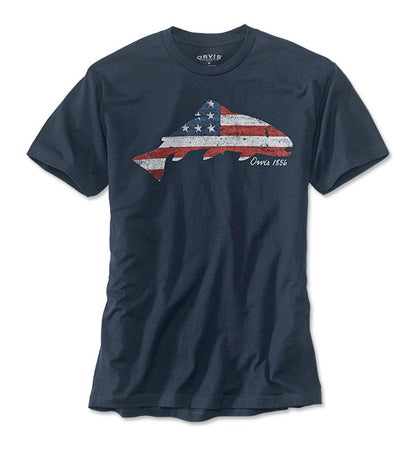 American Flag Trout T-shirt
