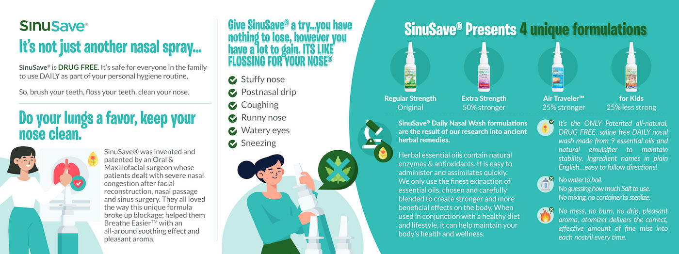 All natural nose spray, safe to use daily, Sinusave