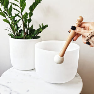 Quartz Singing Bowls - White Frosted