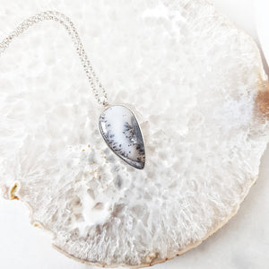 "Dendritic Agate Teardrop Pendant by ""Made in Earth"" crystal"