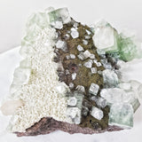 Green Apophyllite with Scolecite and Stilbite