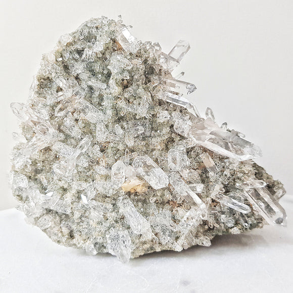 Clear Himalayan Quartz Cluster with Green Chlorite