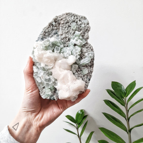 Green Apophyllite with Scolecite