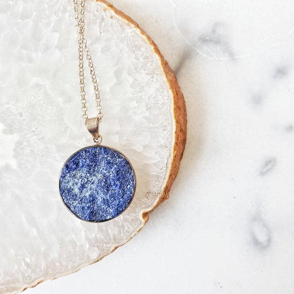 Natural Lapis Lazuli Pendant Crystal Made in Earth Necklace
