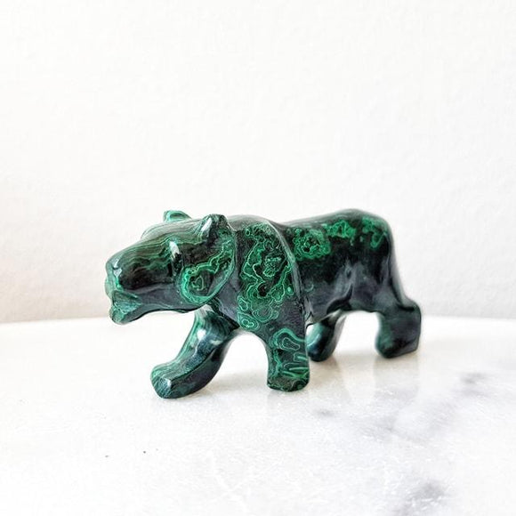 Tiger Figurine in Malachite Crystal