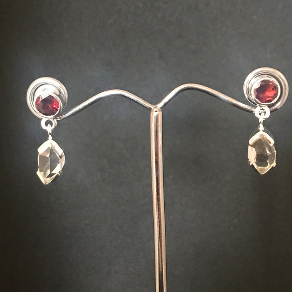 Herkimer Diamond + Garnet Earrings