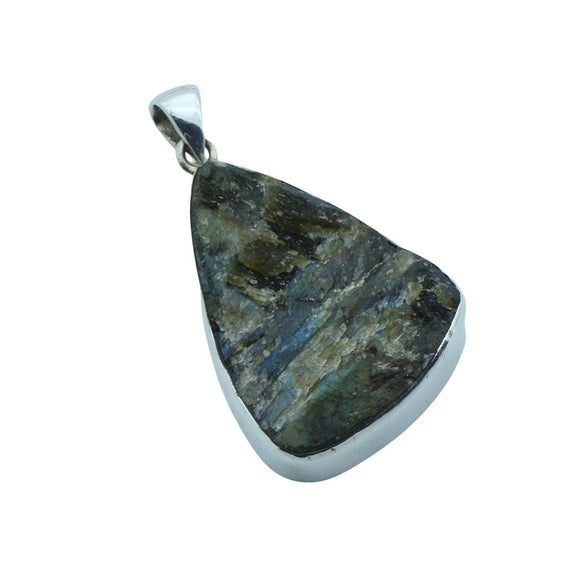 A raw triangular labradorite pendant