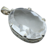 A Large Clear Quartz Oval Pendant