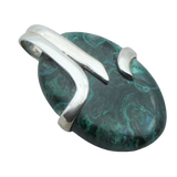 A Chrysocolla and Malachite Oval Pendant
