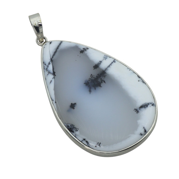 A Dendritic Agate Teardrop Pendant by