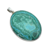 A Large Chrysocolla and Malachite Oval Pendant