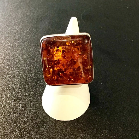 Amber Ring Square Silver Backing