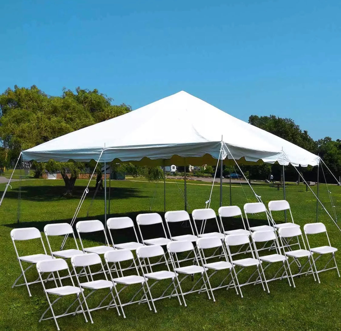 Enjoyable 20 X 20 Commercial Pole Party Tent With Walls 20 Folding Chairs Theyellowbook Wood Chair Design Ideas Theyellowbookinfo