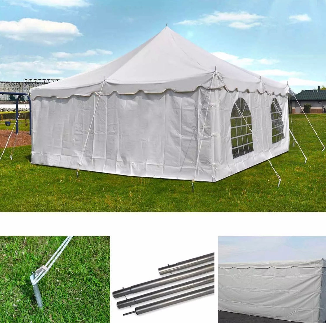 20 x 20' Commercial Pole Party tent with walls & 20 folding chairs