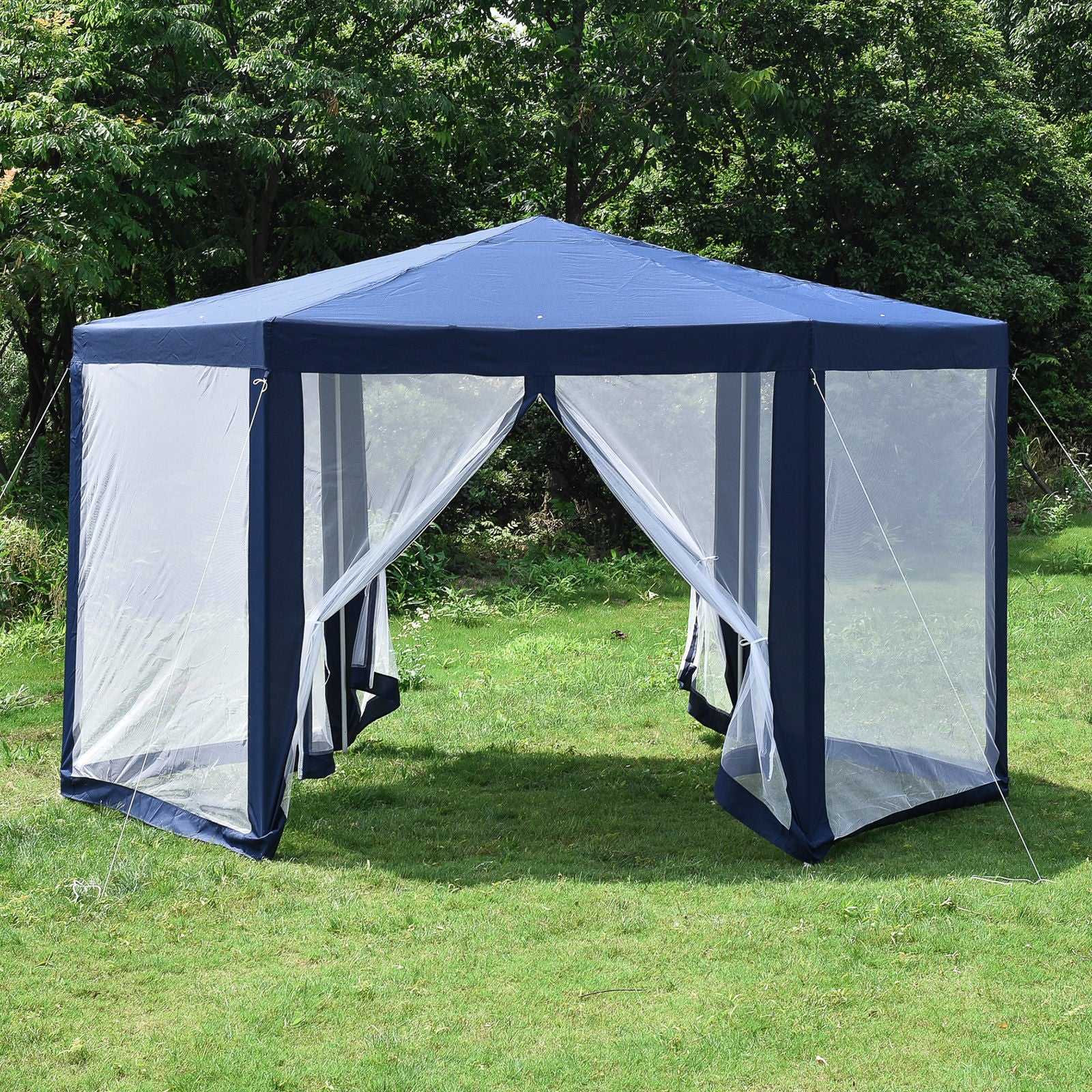 reputable site 63f8f 7ec7f Hexagonal Patio Gazebo Outdoor Canopy Party Tent Event with Mosquito Net  Blue