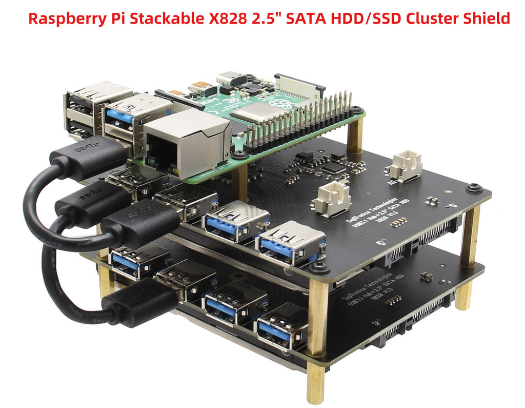 "2019 New Raspberry Pi NAS SATA Adapter Stackable X828 2.5"" SATA HDD/SSD Cluster Storage Expasnion Board"