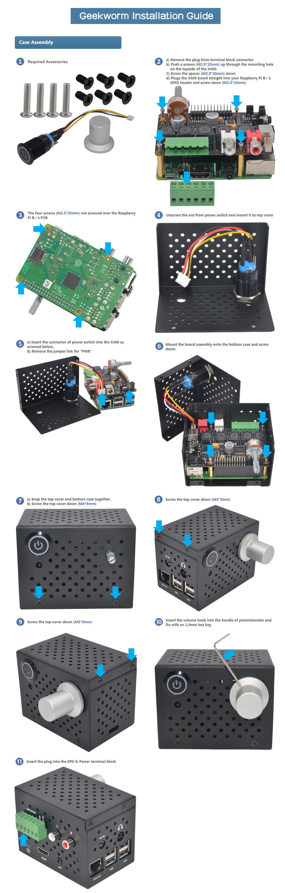 Installation Guide of Raspberry Pi X400 V3.0 Match Aluminum Metal Case with Power Switch